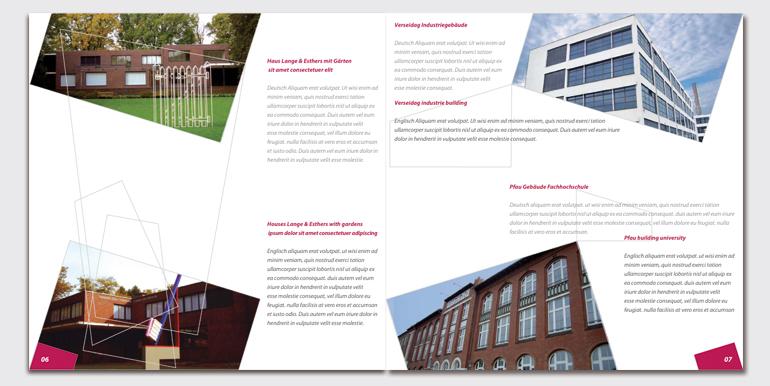 Krefelder Imagebroschüre, weiterführende Seiten hier Bereich Architektur