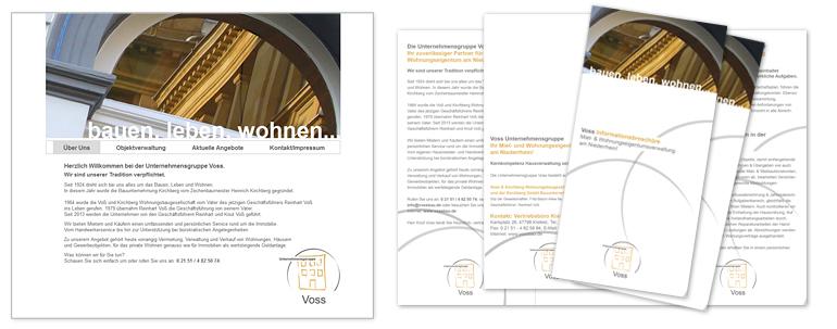 Infofolder DIN lang 6-seitig und Homepage